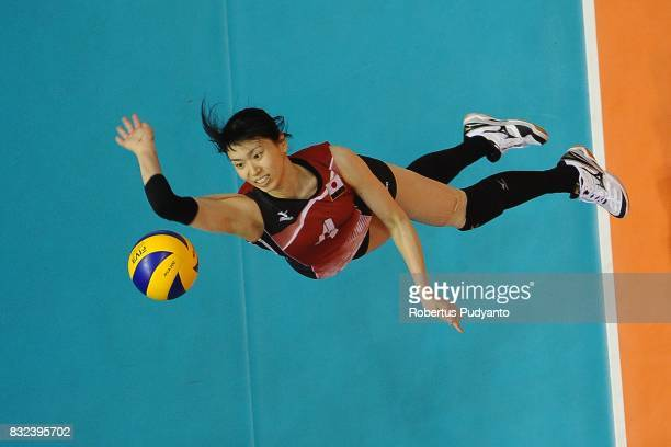 Risa Shinnabe of Japan spikes during the 19th Asian Senior Women's Volleyball Championship 2017 Semifinal match between Japan and China at Alonte...