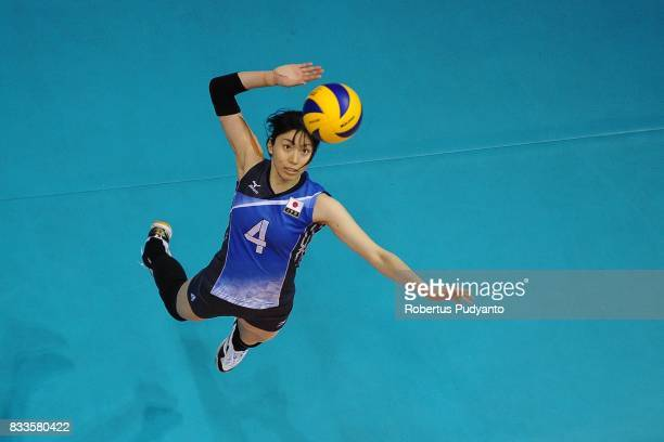 Risa Shinnabe of Japan spikes during the 19th Asian Senior Women's Volleyball Championship 2017 Final match between Thailand and Japan at Alonte...