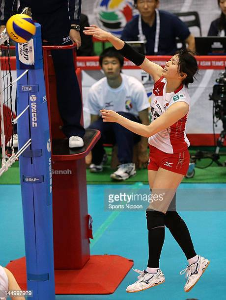 Risa Shinnabe of Japan spikes during the FIVB Women's World Olympic Qualification tournament match between Japan and Chinese Taipei at Yoyogi...