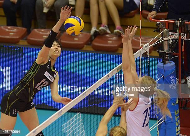 Risa Shinnabe of Japan spikes the ball against to Samanta Fabris of Croatia during the FIVB Women's World Championship pool E match between Croatia...