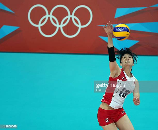 Risa Shinnabe of Japan spikes the ball in the first set against China during Women's Volleyball on Day 11 of the London 2012 Olympic Games at Earls...