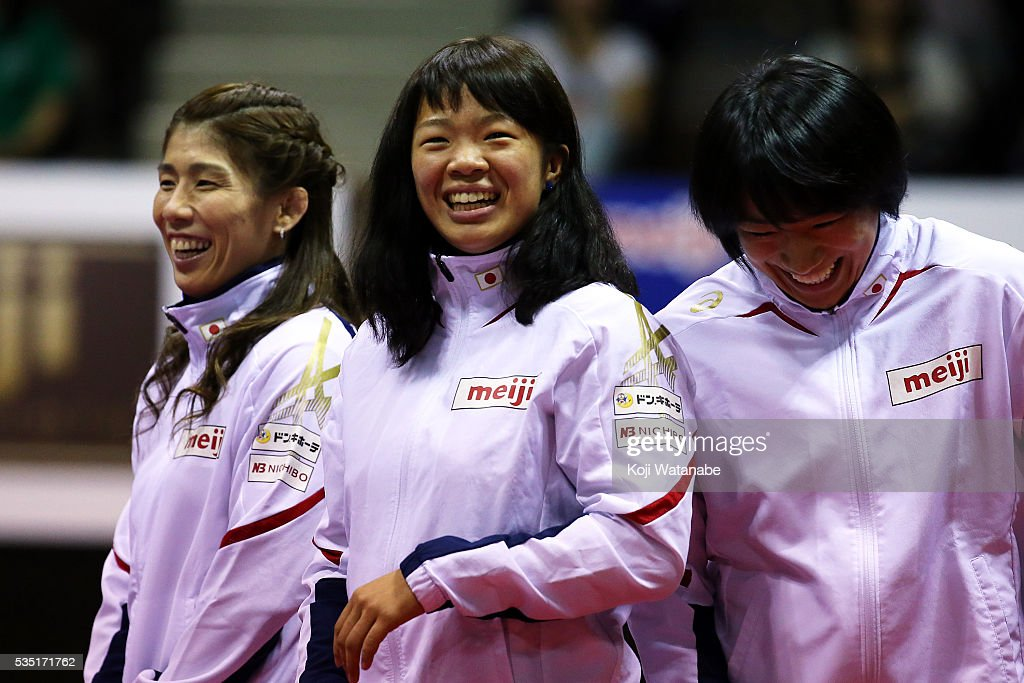 <a gi-track='captionPersonalityLinkClicked' href=/galleries/search?phrase=Risako+Kawai&family=editorial&specificpeople=12551397 ng-click='$event.stopPropagation()'>Risako Kawai</a> looks on in Rio Olympic Games national team the Woman's 63kg free style during All Japan Wrestling Championships at Yoyogi National Gymnasium on May 29, 2016 in Tokyo, Japan.