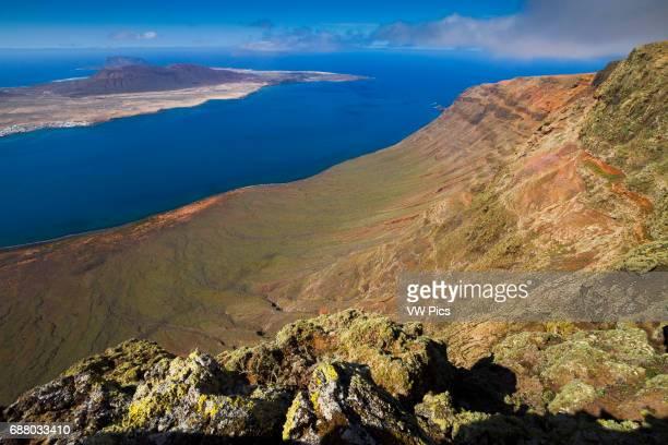 Riscos de Famara and La Graciosa island from Mirador del Rio Lanzarote Canary Islands Atlantic Ocean Spain