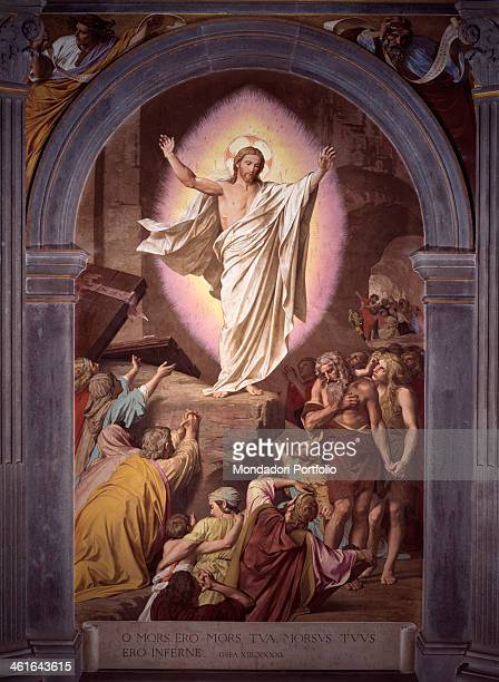 Risen Christ Appears to His Faithful by Alessandro Franchi 1880 1899 19th Century fresco Italy Tuscany Siena Monumental Cemetery Whole artwork view...