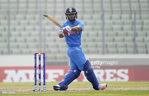 Rishabh Pant of India bats during the ICC U19 World Cup SemiFinal match between India and Sri Lanka on February 9 2016 in Dhaka Bangladesh