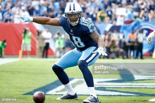 Rishard Matthews of the Tennessee Titans celebrates after scoring a touchdown against the Baltimore Ravens during the first half at Nissan Stadium on...