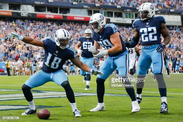 Rishard Matthews of the Tennessee Titans celebrates with teammates after a touchdown during the first half against the Baltimore Ravens at Nissan...