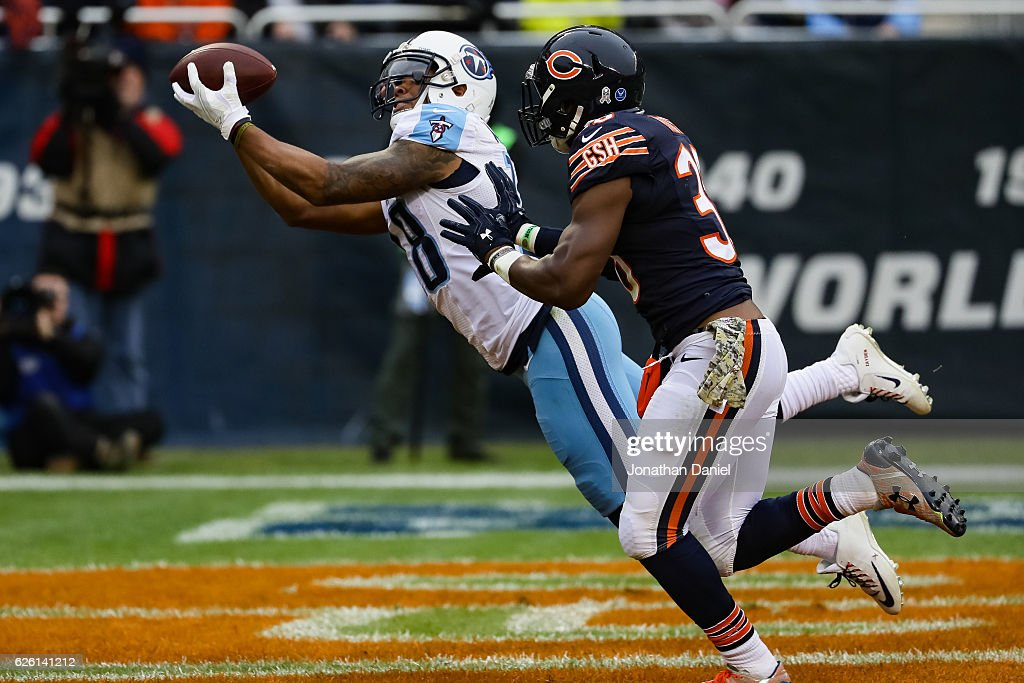 Rishard Matthews #18 of the Tennessee Titans makes a touchdown against Adrian Amos #38 of the Chicago Bears in the second quarter at Soldier Field on November 27, 2016 in Chicago, Illinois.