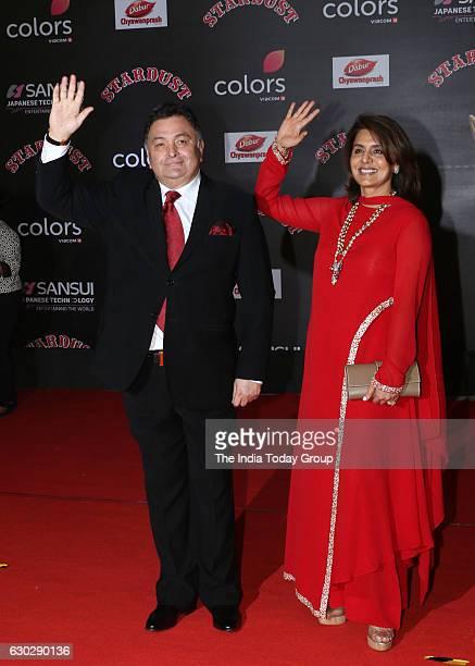 Rishi Kapoor along with his wife Neetu Singh during Sansui Colors Stardust Awards 2016 in Mumbai