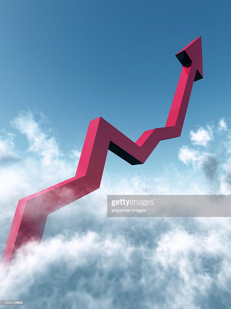 A Rising Chart going into the Blue Sky : Stock Photo