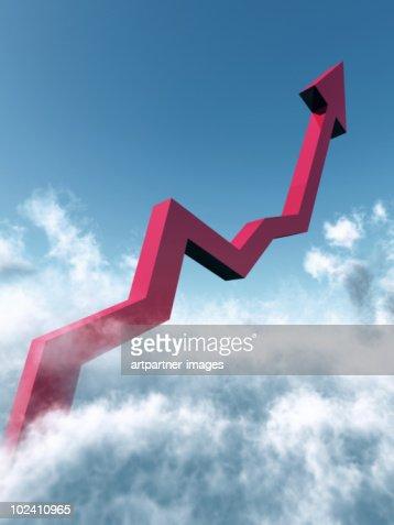 A Rising Chart going into the Blue Sky : Bildbanksbilder
