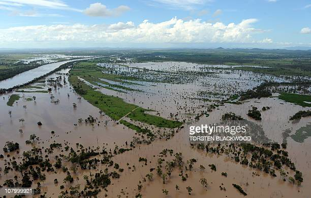 Rising flood waters inundate fertile farmland near Rockhampton on January 5 2011 after the swollen Fitzroy River broke its banks Tens of thousands of...