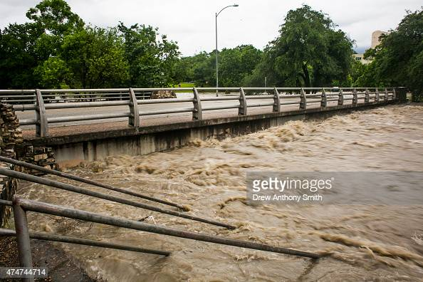 Rising floodwaters at Shoal Creek are shown after days of heavy rain on May 25 2015 in Austin Texas Texas Gov Greg Abbott toured the damage zone...