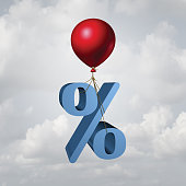Rising interest rates finance and inflation economic concept as a percentage icon lifted up by a flying balloon with 3D illustration elements.