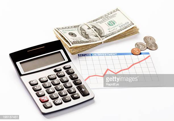 Rising investment graph, money and calculator: good financial news