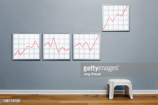 Rising line graph in picture frames