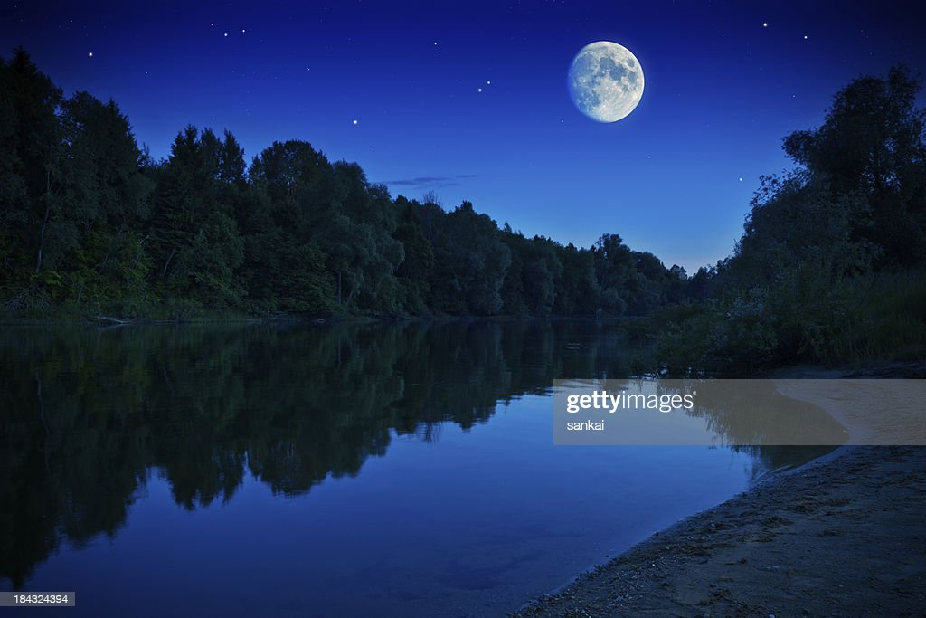 Rising moon over forest river