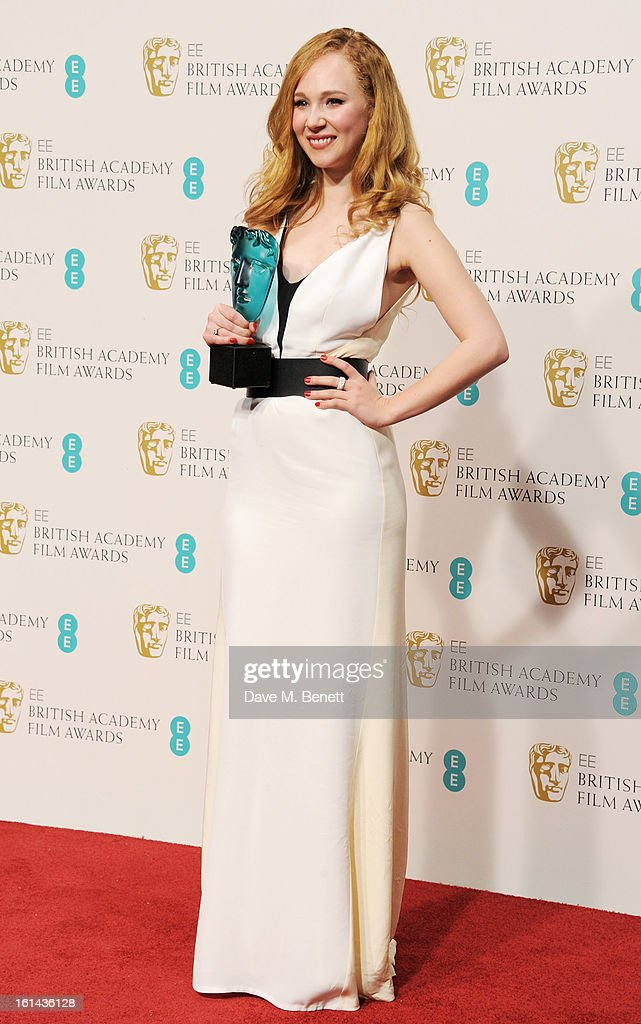 EE Rising Star award winner Juno Temple poses in the Press Room at the EE British Academy Film Awards at The Royal Opera House on February 10, 2013 in London, England.