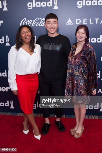 Rising Stars grant recipients Aisha Bibbsand Joon Park and Monique Swirsky attend the 2017 GLAAD Rising Stars Luncheon at The Hilton Midtown on May 5...