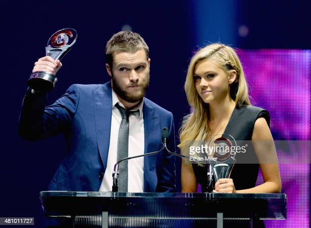 Rising Stars of 2014 award winners Jack Reynor and Nicola Peltz speak onstage at The CinemaCon Big Screen Achievement Awards brought to you by The...
