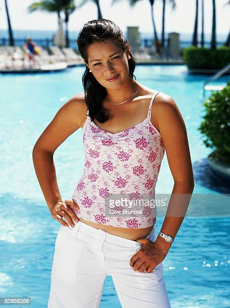 Rising tennis star Ana Ivanovic of Serbia and Montenegro poses for a photoshoot at the Ocean Club on March 31 2005 on Key Biscayne in Miami Florida