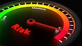 Glowing gauge showing high risk on black risk management concept 3D illustration