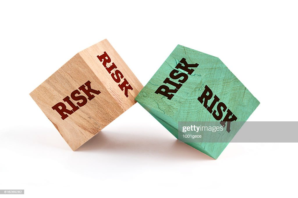 Risk word written on cube shape : Stock Photo