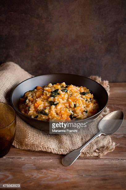 Risotto cremoso con zucca e spinaci