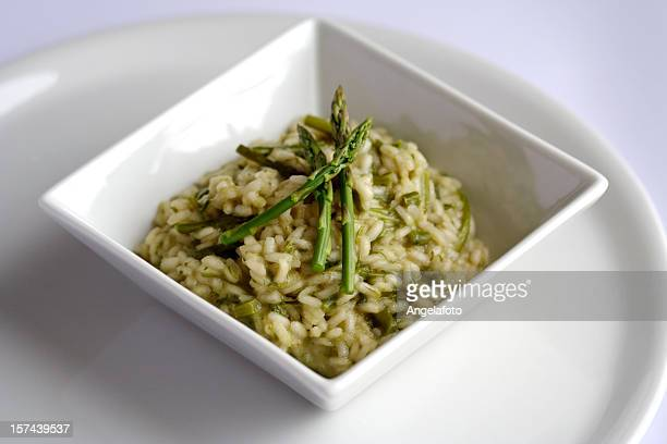 Risotto with Asparagus in a White Square Plate