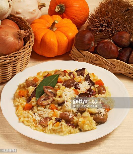 Risotto with chicken livers and chestnuts
