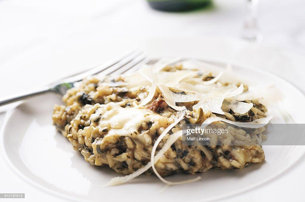Risotto with parmesan garnish