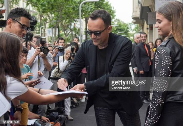 Risto Mejide and Laura Escanes seen arriving at the new Sarkany Boutique opening on May 17 2017 in Barcelona Spain