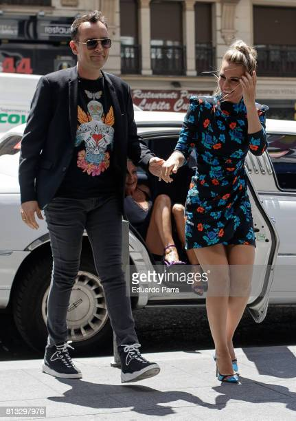 Risto Mejide and singer Edurne Garcia arrive at 'Got Talent' show at Coliseum theatre on July 12 2017 in Madrid Spain