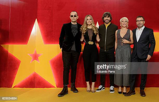 Risto Mejide singer Edurne Garcia actor Santi Millan Eva Hache and Jorge Javier Vazquez attend the 'Got Talent' TV show photocall at Nuevo Teatro...