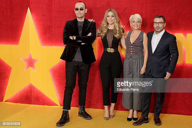Risto Mejide singer Edurne Garcia Eva Hache and Jorge Javier Vazquez attend the 'Got Talent' TV show photocall at Nuevo Teatro Alcala on November 22...