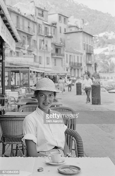 Rita Aarons poses for her husband photograph Slim Aarons in Monaco 1956