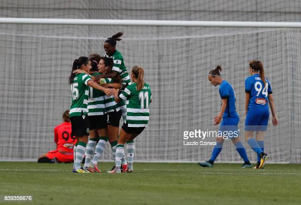 Rita Fontemanha of Sporting CP and Carole Costa of Sporting CP and Diana Silva of Sporting CP celebrate the first goal during the UEFA Women's...