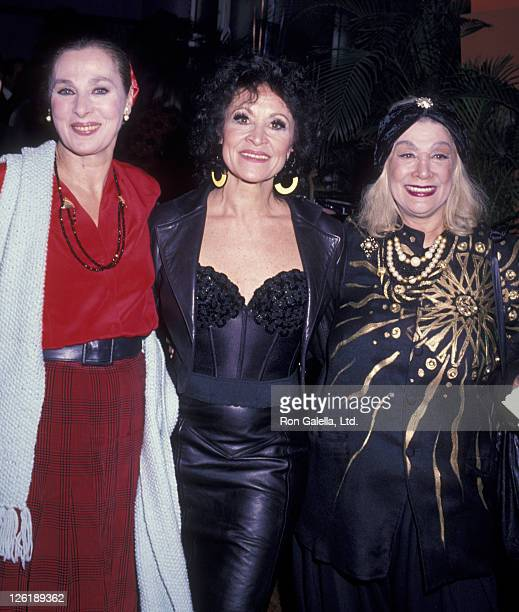 Rita Gam Chita Rivera and Sylvia Miles attend First Anniversary Party for Chita's Restaurant on March 13 1989 in New York City