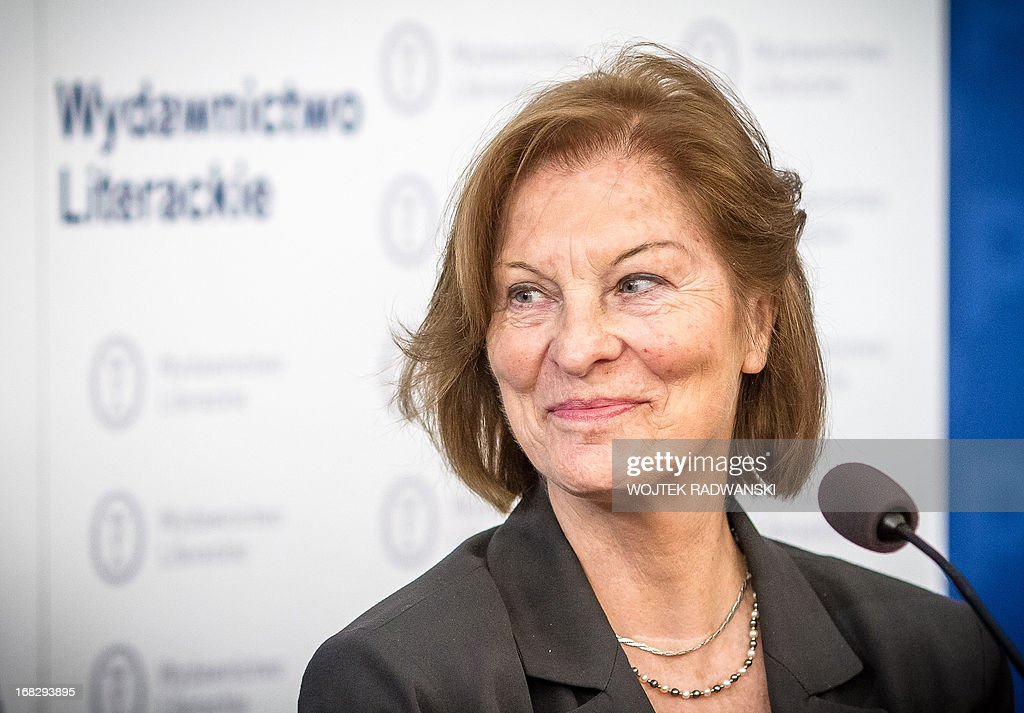 Rita Gombrowicz, widow of renowned Polish novelist Witold Gombrowicz, is seen during a press conferance ahead of the posthumous launch of 'Kronos', his previously unpublished diaries offering an intimate glimpse into the life of the Polish literary giant who made no secret of his homosexuality.
