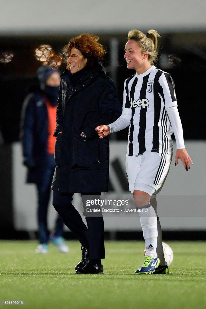 Rita Guarino and Martina Rosucci during the Juventus Women v Fiorentina match at Juventus Center Vinovo on December 8, 2017 in Vinovo, Italy.