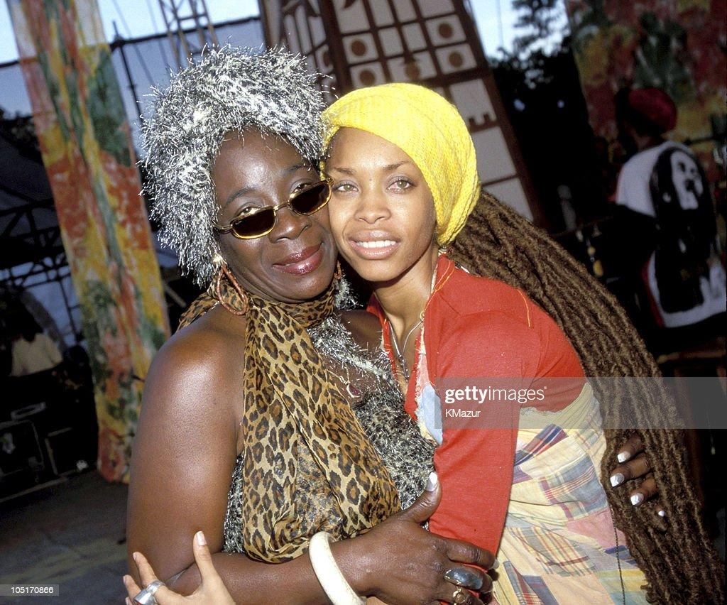 Rita Marley and Eryka Badu during TNT Bob Marley All Star Tribute at James Bond Beach in Oracabeca Beach, Jamaica, Jamaica.