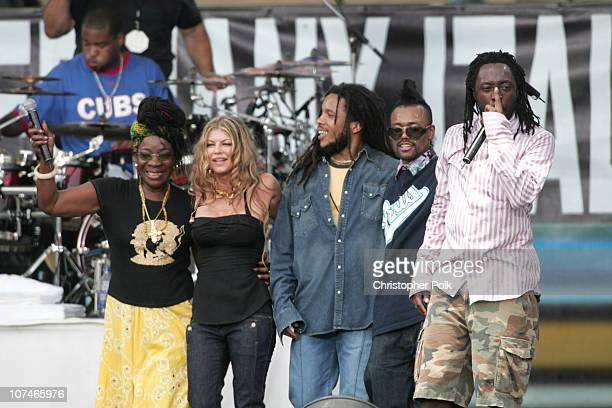 Rita Marley Fergie of Black Eyed Peas Stephen Marley apldeap of Black Eyed Peas and Wyclef Jean