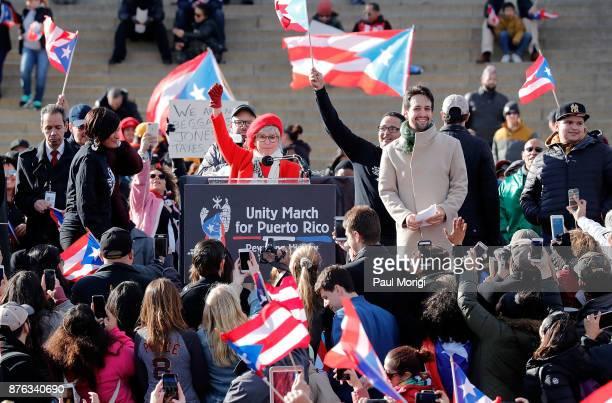 Rita Moreno and LinManuel Miranda speak at a Unity for Puerto Rico rally at the Lincoln Memorial on November 19 2017 in Washington DC