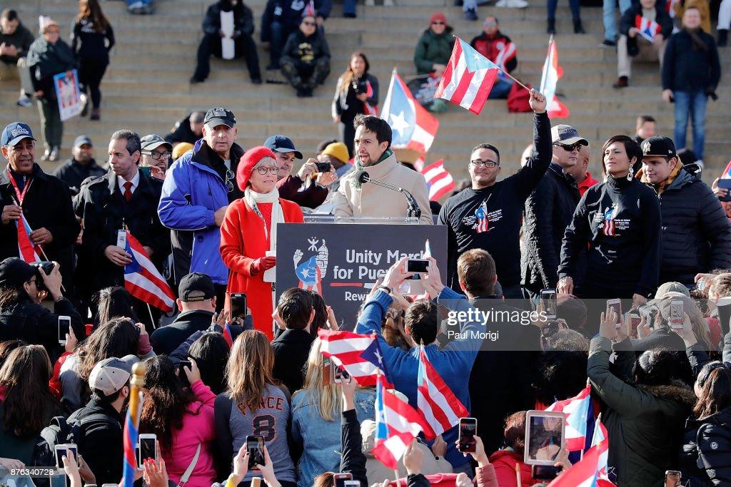 Lin-Manuel Miranda Attends A Unity March For Puerto Rico