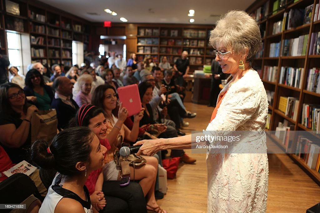<a gi-track='captionPersonalityLinkClicked' href=/galleries/search?phrase=Rita+Moreno&family=editorial&specificpeople=210549 ng-click='$event.stopPropagation()'>Rita Moreno</a> greets fans and signs copies of her book '<a gi-track='captionPersonalityLinkClicked' href=/galleries/search?phrase=Rita+Moreno&family=editorial&specificpeople=210549 ng-click='$event.stopPropagation()'>Rita Moreno</a>: A Memoir' at Books and Books on March 9, 2013 in Coral Gables, Florida.