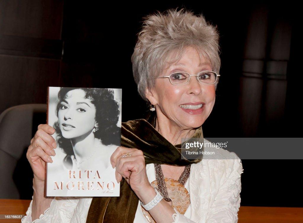 Rita Moreno signs copies of her new book 'Rita Moreno: A Memoir' at Barnes & Noble bookstore at The Grove on March 14, 2013 in Los Angeles, California.