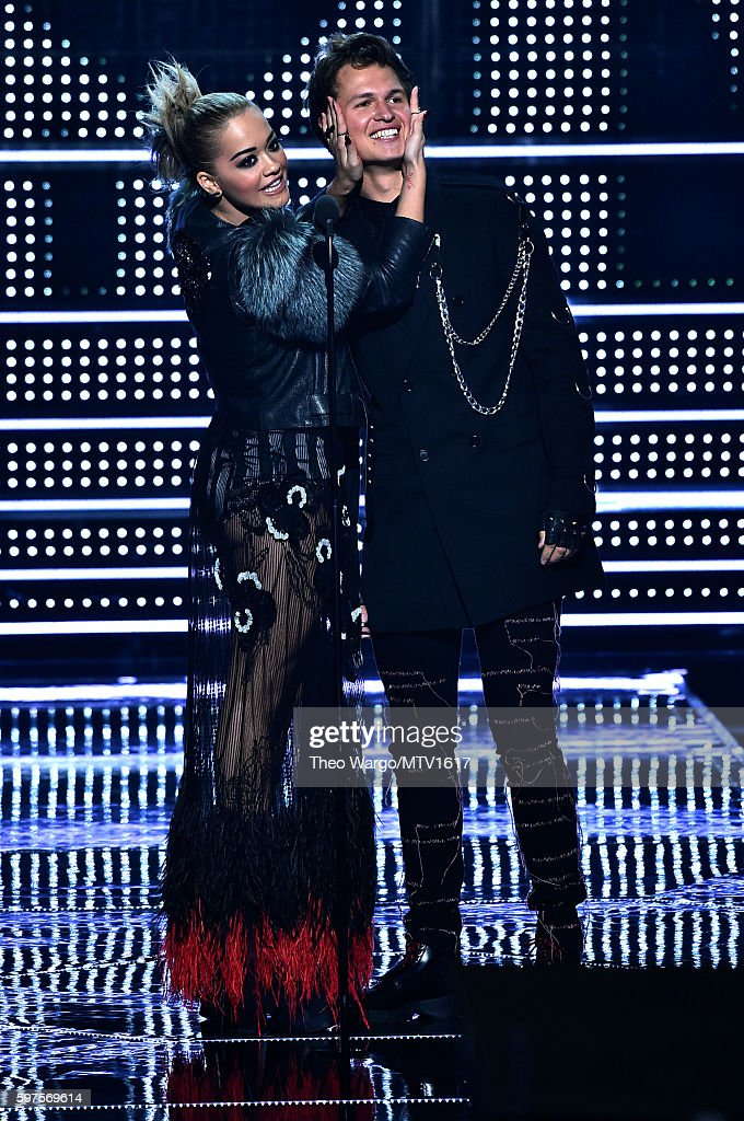 Rita Ora and Ansel Elgort present onstage during the 2016 MTV Video Music Awards at Madison Square Garden on August 28, 2016 in New York City.