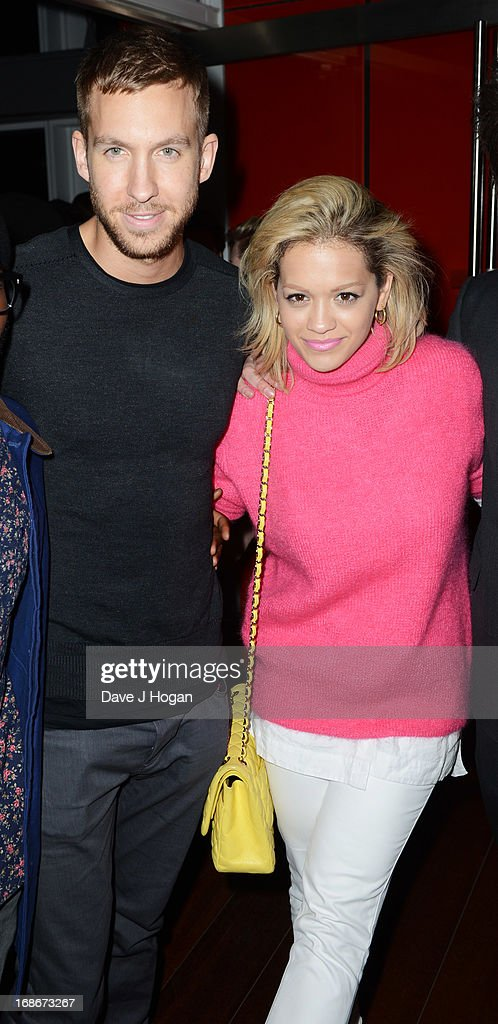 Rita Ora and Calvin Harris attend a listening party for Daft Punk's new album 'Random Access Memories' at The Shard on May 13, 2013 in London, England.