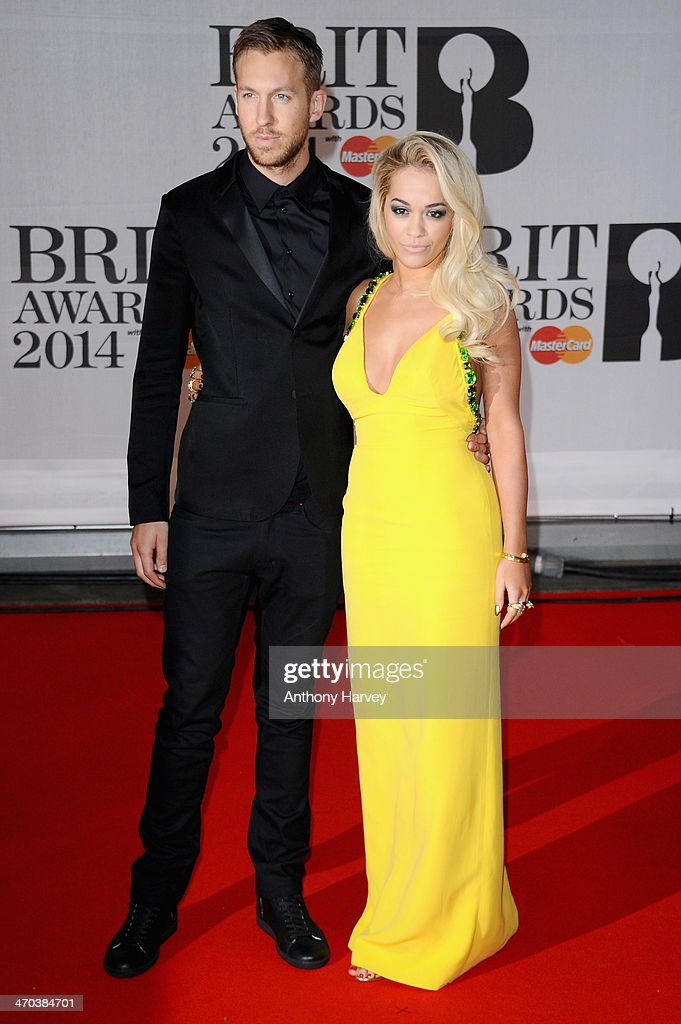 Rita Ora and Calvin Harris attend The BRIT Awards 2014 at 02 Arena on February 19, 2014 in London, England.