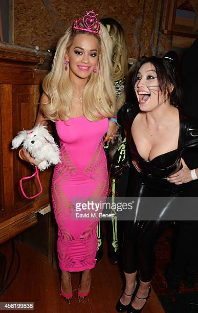 Rita Ora and Daisy Lowe attend 'Death Of A Geisha' hosted by Fran Cutler and Cafe KaiZen with Grey Goose on October 31 2014 in London England